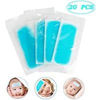 Ixaer Fever Cooling Patch 20pcs 8 Hours Fever Cooling Gel Pads for Relief Migraine, Muscle ache, Sprain, Hot Flash Blue Forehead Cold Cooling Sticker Sheets Suitable for Adults and Kids Therapy Set