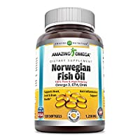 Amazing Omega Norwegian Fish Oil 1250mg 120 Softgels (Non GMO,Gluten Free) -Supports Anti-inflammatory, Heart, Joint & Brain Health