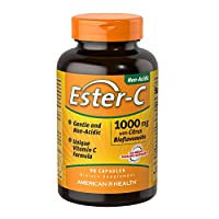 American Health Ester-C with Citrus Bioflavonoids Capsules- 24-Hour Immune Support, Gentle On Stomach, Non-Acidic Vitamin C - Non-GMO, Gluten-Free - 1000 mg, 90 Count, 90 Servings