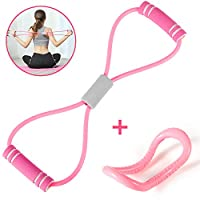 i-FSK Resistance Bands with Handle, Yoga Pilates Circles Ring, Pull Band Rope Figure 8 Double Tube Exercise, Fitness Equipment Tool for Home Workout, Physical Therapy, Arms Pull Up,Strength Training