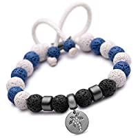 Karseer Hawaiian Coconut Tree & 8mm Colored Lava Stone Essential Oil Diffuser Bracelets, Adjustable Natural Healing Stone Yoga Beads Anxiety Relief Gemstone Bracelet for Women and Girls