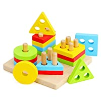 WOOD CITY Wooden Sorting & Stacking Toys for Toddlers, Educational Shape Color Recognition Puzzle Stacker, Early Childhood Development Puzzle Toys for 1 2 3 Year Old Boys Girls (4 Shapes)
