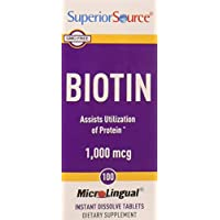 Superior Source Biotin [1000 mcg] Sublingual Instant Dissolve Tablets - Hair, Skin, and Nails Growth Vitamins - 100 Count
