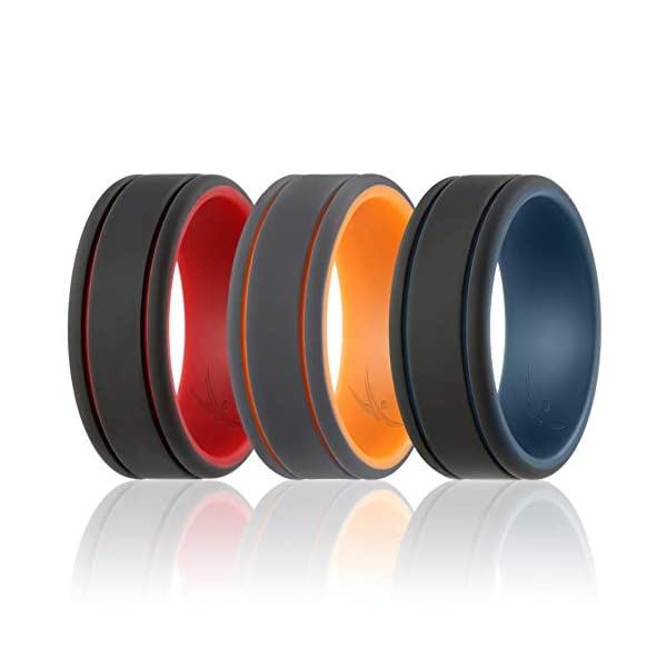 Silicone Wedding Ring for Men 4 Pack Rubber Ban Size 12.5-13 22.33mm GIFT