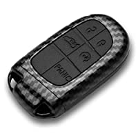 Lcyam Key Fob Cover Glossy TPU Case Blue Fits for Dodge Ram Pickup Jeep Renegade Grand Cherokee Chrysler Compass Smart Keyless Entry Remote Key 2 3 4 5 Button