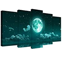 Visual Art Decor Large 5 Piece Teal Canvas Wall Art Fancy Moon Over Sea Landscape Picture Prints Framed and Stretched Canvas Painting for Modern Home Office Wall Decoration (L-60 xH-32)