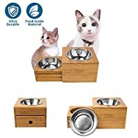 Artmeer Small Raised Dog Bowls Stand Feeder Adjustable Feeding Bowl Station Bamboo Feeder 2 Bowls Stand Stainless Steel Bowls for Small Size Dogs Kitten and Pupply(New Drawer of Bowls Stand)