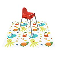 Splat Mat for Under Highchair/Arts/Crafts, Wo Baby Reusable Waterproof Anti-Slip Floor Splash Mat, Portable Play Mat and Table Cover (51