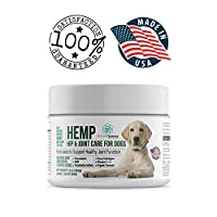 Hemp Hip and Joint Care for Dogs, Also for Stress and Anxiety, Calming Chew with Turmeric, Glucosamine Chondroitin,MSM, Made in The USA,120 Tasty Chicken Flavor Soft Chews