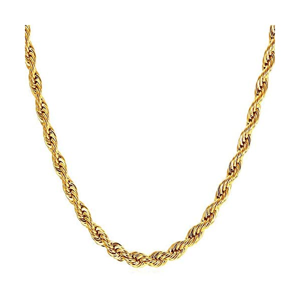 WINNICACA 4mm Rope Chain 24K Gold Plated Fake Gold Chain for Men & Women-Durable Statement Necklace-24 inches