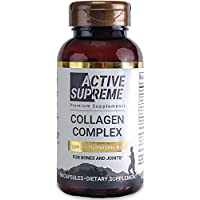 Collagen Pills Type 2 Complex for Healthier Joints - Grass Fed Beef Collagen Hydrolyzed Type 2 Capsules with Vitamin C and Hyaluronic Acid - by Active Supreme