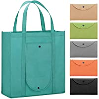 WiseLife Reusable Grocery Bags [Set of 6 Pack], Large Shopping Bags Foldable into Pouch Tote Bags Produce Bags with Long Handle for Shopping Groceries Clothes Vegetables Fruits(6 Assorted Colors)