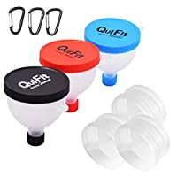 QuiFit Protein Powder Funnel 2 in 1 Water Bottle Funnel Portable Supplement Pillbox Funnel Protein Storage BPA Free Pre-Workout Fitness Funnels (3 Packs)