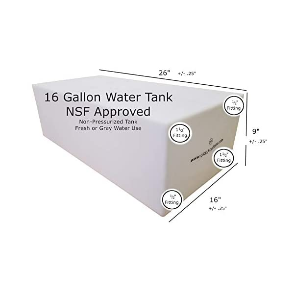 Class A Customs NSF//FDA Approved BPA Free 25 Gallon Fresh or Gray Water Holding Tank rv Concession Trailer UM-2500 UM