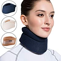 Velpeau Neck Brace -Foam Cervical Collar - Soft Neck Support Relieves Pain & Pressure in Spine - Wraps Aligns Stabilizes Vertebrae - Can Be Used During Sleep (Comfort, Blue, Medium, 4″)