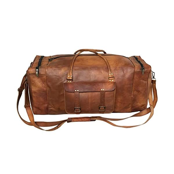 USBAGTECH Men Leather Travel Duffel Bag Weekender Overnight Carry On Luggage Tote