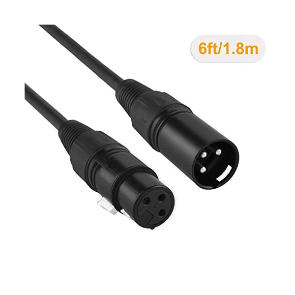 Black 2-Pack XLR Microphone Cable,CableCreation 6 FT XLR Male to XLR Female Balanced 3 PIN Mic Cables
