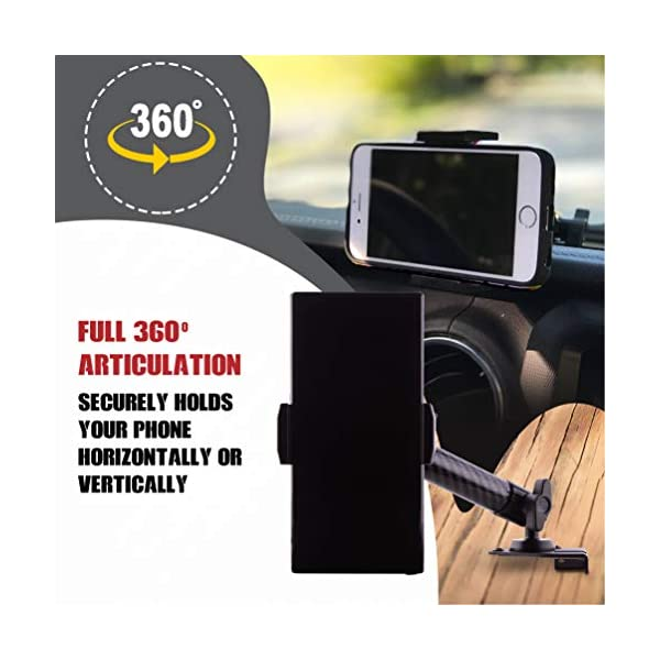 JLU and JT Heavy Duty Carbon Fiber Kevlar Arm 2018+ Dash Mount Cell Phone Holder for Jeep Wrangler JL with 2 Ball Mounts for GoPro Camera and GPS Navigation with iPhone and Android Smartphones