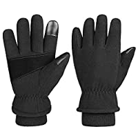 OZERO Warm Gloves Cold Proof Winter Snow Work Glove Thermal Polar Fleece Insulated Lamb Wool for Women and Men Small Black