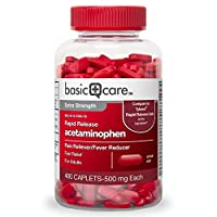 Basic Care Rapid Release Pain Relief, Acetaminophen Caplets 500 mg, Extra Strength Pain Reliever and Fever Reducer, 400 Count