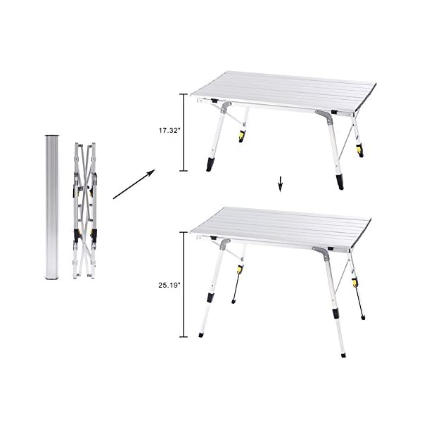 Party and Picnic Table /… Backyards A BBQ Camp Field Camping Table with Adjustable Legs for Beach