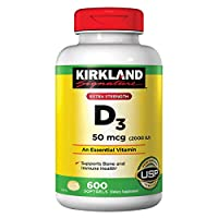 Kirkland Signature Extra Strength Vitamin D3 2000 I.U. 1200 Softgels, Bottle