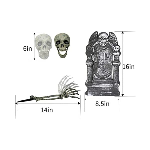 Halloween Yard Lawn Decoration Realistic Looking Skeleton Stakes Set Includes One Skull Two 18.5 Arms and a 16 Foam RIP Gravestone Graveyard Tombstone Groundbreakers Decor Accessories