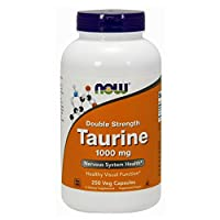 NOW Supplements, Taurine 1,000 mg, Double Strength, Nervous System Health*, 250 Veg Capsules