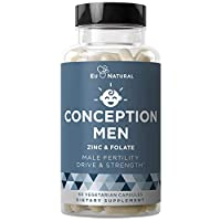 Conception Men Fertility Vitamins – Male Optimal Count, Sperm Motility Strength, Healthy Volume Production – Zinc, Folate, Ashwagandha Pills – 60 Vegetarian Soft Capsules