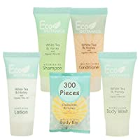 Eco Botanics Hotel Size Toiletries Set | 1-Shoppe All-In-Kit Shampoo and Conditioner, Body Wash, Lotion & Bar Soap | Amenities For Hotels & Airbnb | 300 Piece White Tea, Honey & Chamomile Travel Set
