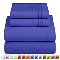 Nestl Luxury Queen Sheet Set - 4 Piece Extra Soft 1800 Microfiber-Deep Pocket Bed Sheets with Fitted Sheet, Flat Sheet, 2 Pillow Cases-Breathable, Hotel Grade Comfort and Softness - Royal Blue