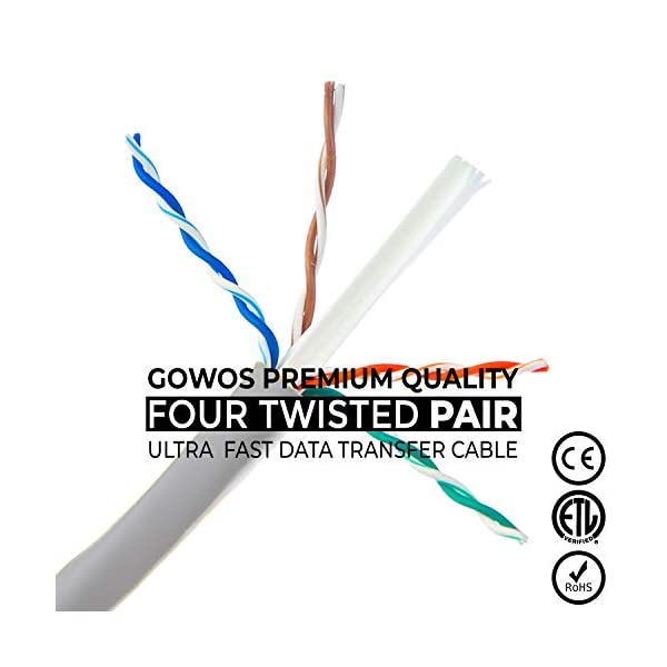 RJ45 10Gbps High Speed LAN Internet Patch Cord UTP Available in 28 Lengths and 10 Colors Cat5e Ethernet Cable 150 Feet - Green Computer Network Cable with Snagless Connector GOWOS 5-Pack