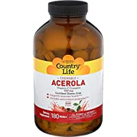 Country Life Acerola 500mg Chewable Vitamin C Complex Clean Antioxidants & Citrus Bioflavonoids for Powerful Immune Health Support - Gluten-Free, Vegan Berry Flavor - 180 Wafers