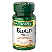 Nature's Bounty Biotin Supplement, Supports Healthy Hair, Skin, and Nails, 1000mcg, 100 Tablets