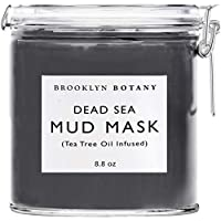 Dead Sea Mud Mask - Infused With Tea Tree Oil - Facial Mask for Acne and Oily Skin, Pore Minimizer, Blackhead Remover, For Face and Body - Brooklyn Botany - 8.8 oz