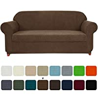 subrtex Sofa Cover 2 Piece Stretch Couch Slipcovers Furniture Protector for Armchair Loveseat Washable Soft Jacquard Fabric Anti Slip, Medium, Coffee