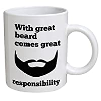 Funny Mug - With great beard, comes great responsibility - 11 OZ Coffee Mugs - Funny Inspirational and sarcasm - By
