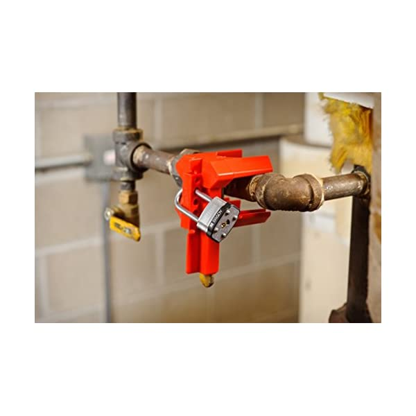 for 1//2-2-1//2 Outside Pipe Diameter Pack 5 Small Brady Prinzing Ball Valve Lockout BS07A-RD Red