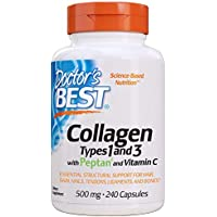 Doctor's Best Collagen Types 1 & 3 with Peptan, Non-GMO, Gluten Free, Soy Free, Supports Hair, Skin, Nails, Tendons & Bones, 500 mg, 240 Caps