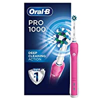 Oral-B Pro 1000 CrossAction Electric Toothbrush, Pink, Powered by Braun