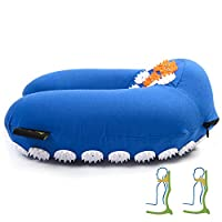 ZenGuru Best Acupressure U-Shaped Neck Pillow - Sale - Effective Remedy for Neck & Shoulders Pain and Stress Relief - with Magnet Therapy - Lifetime Money Back (Blue)