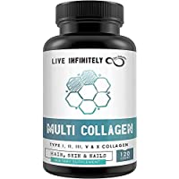 Multi Collagen Capsules - Grass Fed, Pasture Raised Type I, II, III, V & X for Hair Skin & Nails - 120 Capsules