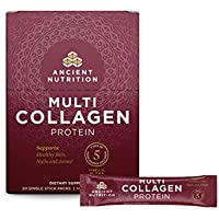 Ancient Nutrition Multi Collagen Protein Powder Stick Packs, Pure, Supplement Supports Skin, Nail,Joint and Gut Health, 5 Types of Food Sourced Collagen, 20 Count