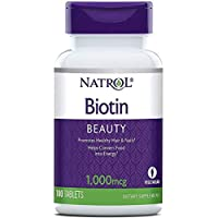 Natrol Biotin Beauty Tablets, Promotes Healthy Hair, Skin & Nails, Helps Support Energy Metabolism, Helps Convert Food Into Energy, 1,000mcg, 100 Count (Pack of 2)