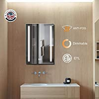 ExBrite LED Bathroom Mirror, 20 x 30 inch, Anti Fog, Dimmable, Touch Button, Slim,90+ CRI, Waterproof IP44,Both Vertical and Horizontal Wall Mounted Way
