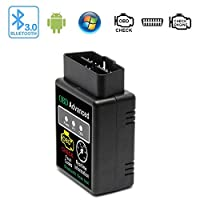 Monitor Engine Performance with What The Pros Use InSassy AQUA-BT-SCAN AquaNine OBD2 OBDII Bluetooth Car Scanner Diagnostic Reader Adapter Scan Tool for Android and Windows Device Read and Clear CEL Trouble Codes