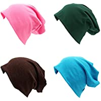 BLUBOON Soft Cotton Slouchy Stretch Beanie Hat Hipster, 4 or 2 Pack of Baggy Chemo Hats for Men and Women