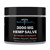 Medical Miracles Hemp 3000 Mg Extreme Strength Healing Salve | 100% Natural Cream Relieves Inflammation, Muscle, Joint, Knee, Nerve, Arthritis Aches & Pain | Fast Acting, Maximum Power, Quick Relief