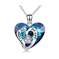 I Love You Mom Series - Sterling Silver Mom Necklace Heart Pendant with Blue Swarovski Crystal - Fine Jewelry Birthday Gifts for Mom Mother Grandma Mother-to-be Mother-in-law Stepmom