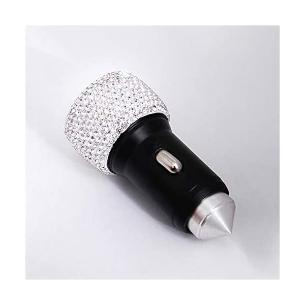 Car Bling Accessories for Women Girl Royalfox 3D Bling Diamond Rhinestone Handmade Dual USB Car Charger Designed for Apple and Android Devices,car Charger Bling White 4351510923